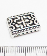 Rectangular Spacer x 6. Silver 5 hole. 17mm x 11mm x 4mm